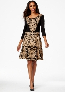 Alfani Printed Fit & Flare Sweater Dress, Only at Macy's