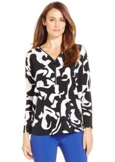 Alfani Petite Zipper-Trim Printed Top, Only at Macy's