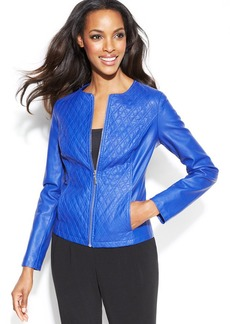 Alfani Quilted Faux-Leather Jacket