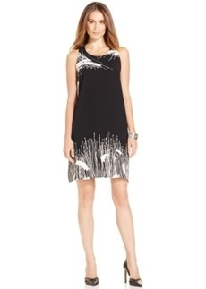 Alfani Reed-Print Shift Dress, Only at Macy's