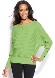Alfani Ribbed Button-Cuff Dolman Sweater