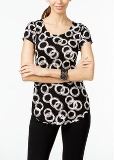 Alfani Petite Ring-Print Cap-Sleeve Top, Only at Macy's