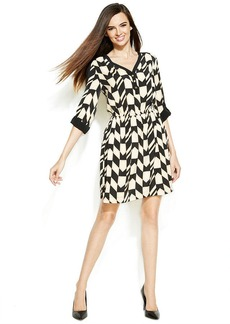 Alfani Roll-Tab-Sleeve Printed Shirtdress