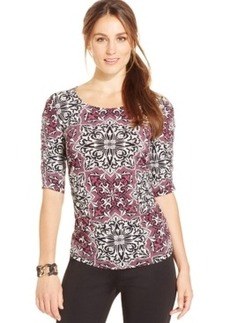 Alfani Ruched Damask-Print Top, Only at Macy's