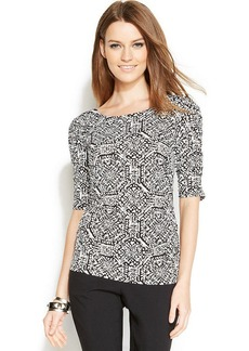 Alfani Petite Ruched-Sleeve Printed Top