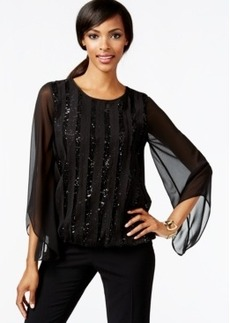 Alfani Sequin Panel Bubble-Hem Top, Only at Macy's