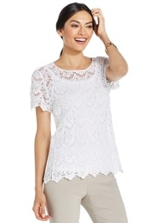 Alfani Sheer Crocheted Top