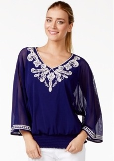 Alfani Sheer-Sleeve Embroidered Peasant Top, Only at Macy's