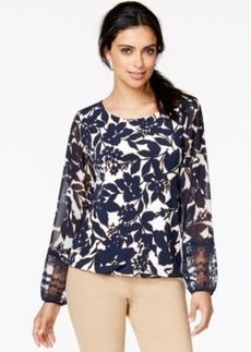 Alfani Sheer-Sleeve Floral-Print Top, Only at Macy's