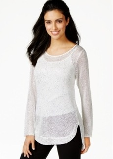 Alfani Shirt-Tail-Hem Sequinned Sweater, Only at Macy's