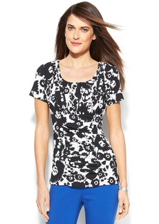 Alfani Short-Sleeve Printed Ruched Top