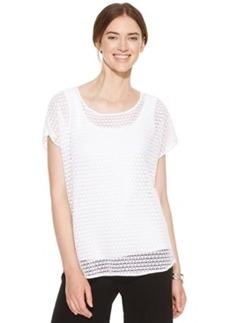 Alfani Short-Sleeve Sheer Crochet Top