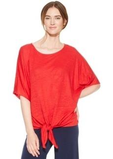 Alfani Short-Sleeve Tie-Front Linen Top