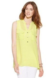 Alfani Sleeveless Flap-Pocket Blouse