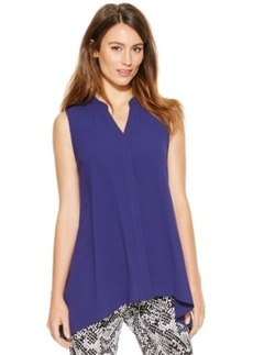 Alfani Sleeveless Handkerchief-Hem Blouse