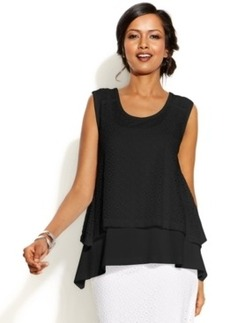 Alfani Sleeveless Layered Eyelet Top