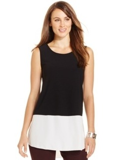 Alfani Sleeveless Mixed-Media Colorblocked Top, Only at Macy's