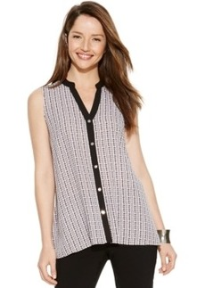 Alfani Sleeveless Printed Handkerchief-Hem Blouse