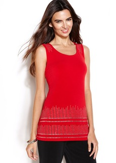 Alfani Sleeveless Stud-Trim Tiered Top