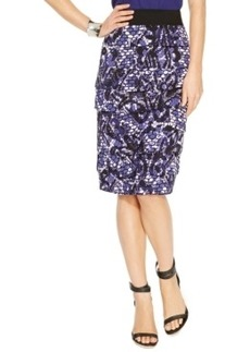 Alfani Snakeskin-Print Tiered Pencil Skirt