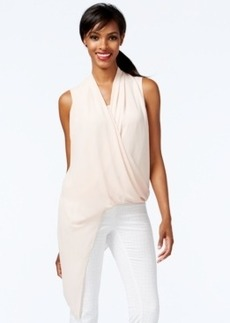 Alfani Solid Asymmetrical-Hem Surplice Top, Only at Macy's