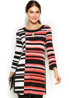 Alfani Spliced Stripe Keyhole Tunic