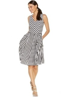 Alfani Striped Pocketed Fit-and-Flare Dress