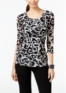 Alfani Swirl-Print Tiered Mesh Top, Only at Macy's