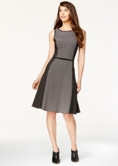 Alfani Textured Geo-Print Flare Dress, Only at Macy's