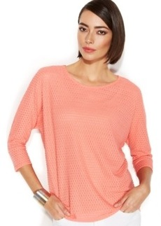 Alfani Textured Knit Dolman Sleeve Top