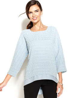 Alfani Textured Sequin Layered-Look Sweater