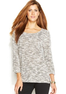Alfani Petite Three-Quarter-Sleeve Boucle Sweater