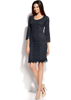 Alfani Three-Quarter-Sleeve Lace Shift