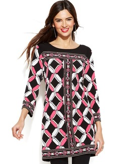 Alfani Three-Quarter-Sleeve Lattice-Print Tunic