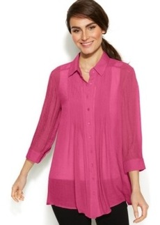 Alfani Three-Quarter-Sleeve Pleat-Front Blouse