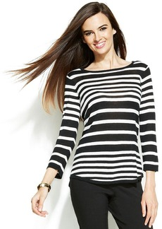 Alfani Petite Three-Quarter-Sleeve Striped Sweater