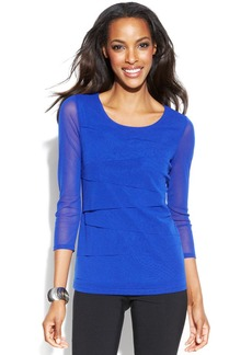 Alfani Three-Quarter-Sleeve Tiered Mesh Top