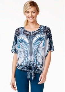 Alfani Tie-Hem Chiffon Top, Only at Macy's