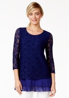 Alfani Tiered-Hem Lace Top, Only at Macy's