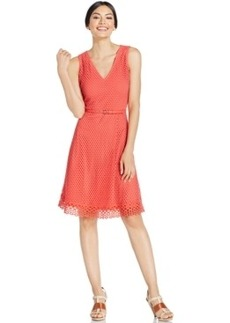 Alfani V-Neck Mesh-Overlay Flare Dress