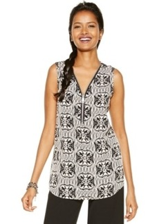 Alfani Zippered V-Neck Printed Blouse