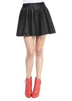 Akira Grommet-Stripe Leather Skirt   Akira Grommet-Stripe Leather Skirt