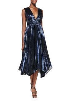 Alessandra Pleated Metallic Asymmetric Gown   Alessandra Pleated Metallic Asymmetric Gown