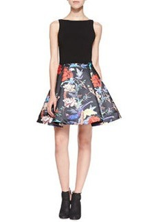 Alice + Olivia Amabel Floral Box-Pleat Dress