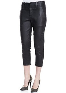 Alice + Olivia Anders Cropped Leather/Ponte Pants