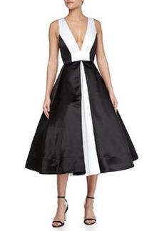 Alice + Olivia Brennan Deep-V Colorblock Dress, Black/White
