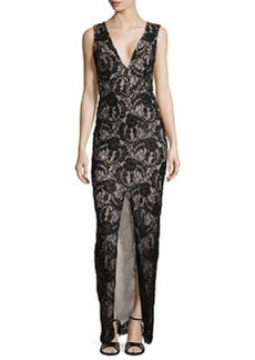 Alice + Olivia Caragen Lace Gown W/ Center Slit