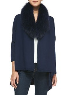 Alice + Olivia Cashmere-Blend Izzy Open-Front Cardigan, Navy