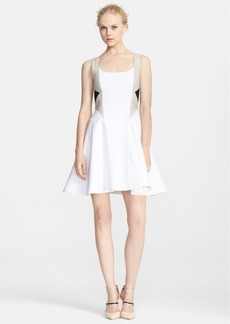 Alice + Olivia 'Clifton' Leather Trim Fit & Flare Dress