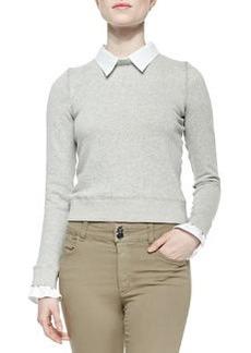 Alice + Olivia Combo Blouse/Sweatshirt Knit Pullover